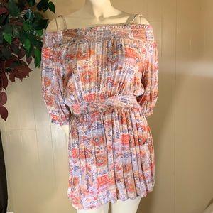 Multicolored tunic top/mini dress